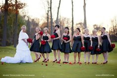 Wedding Gallery | GoIzzy Love the black dresses with the pop of red...simple elegance