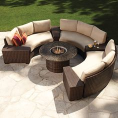 Modern outdoor wicker circular patio sectional with stone top fire table. Available in a beautiful dark brown rattan peel wicker colors with outdoor fabrics for the cushions Fire Pit Patio Set, Fire Pit Sets, Fire Pit Table, Fire Pit Chairs, Fire Pit Furniture, Wicker Patio Furniture, Outdoor Furniture Sets, Outdoor Decor, Outdoor Sofas