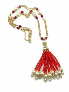 Long Vintage CHANEL Red Gripoix Glass Bead Faux Pearl Fringe Tassel Necklace