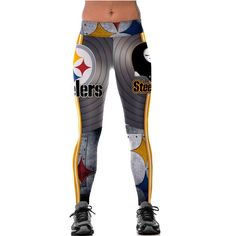Unisex NFL Team Pittsburgh Steelers Logo Yoga Leggings Woman Fitness Leggings Gym Workout Pants