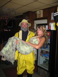 Couple's Halloween costume idea - Gorton's fisherman and a mermaid. starfish in hair, seashell necklace, green sequin dress, hot glue seashells to dress, green glitter all over skin, green eyeshadow, fake eyelashes. For him - yellow rain suit, navy or black fleece, grey beard and yellow rain hat, black rain boots. costume contest winner :)