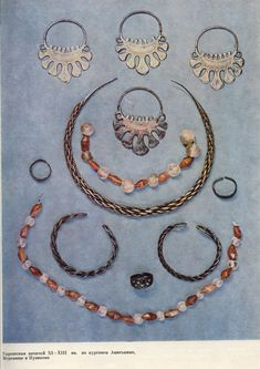Jewelry of Vyatichi XI-XIII centuries. from the mounds Aniskino, Merenischa and Puzikovo.