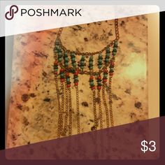 """12"""" Chain accented with beads Costume jeweled chain with rope connecting 2 colored beads which are sky blue and burnt orange at the end of last layer chain has little ropes dangling at end of chain giving it definition Other"""
