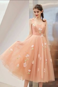 Fitted Prom Dress, tea length unique graduation dress with appliques a line tulle homecoming dresses , Looking for that Perfect Prom Dress? Want to look amazing at the dance? Sexy Dresses, Mini Prom Dresses, Sweet 16 Dresses, Junior Bridesmaid Dresses, Sweet Dress, Girls Dresses, Flower Girl Dresses, Beautiful Dresses, Pink Tulle