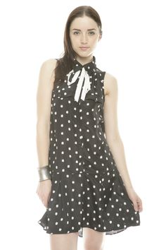 black and white polka dot dress. flirty skirt. fun bow.