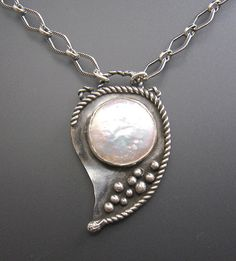 Coin pearl sterling silver necklace  handmade by KryziaKreations, $185.00