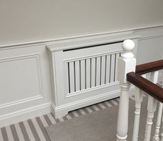 Here is one of our most popular radiator covers the New England. We integrated with our flat panel with decorative trim panelling to complete the look. Beadboard Wainscoting, Wainscoting Nursery, Dining Room Wainscoting, Installing Wainscoting, Wainscoting Ideas, Radiator Cover, Mudroom, Decoration, Backsplash