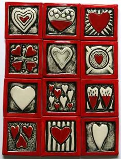 Red and Silver Hearts by Stoor Ceramics, Cape Town