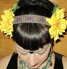 Coiffe de ruban jaune Dahlia & Brocade / Tribal / par Pyaara