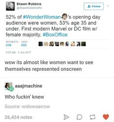 Wow I'm just *shocked* women want representation who knew