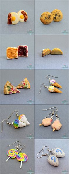 Florida SuperCon Earring Stock by Bon-AppetEats on deviantART Cute Polymer Clay, Cute Clay, Polymer Clay Miniatures, Polymer Clay Charms, Polymer Clay Projects, Diy Clay, Polymer Clay Earrings, Clay Crafts, Clay Turtle