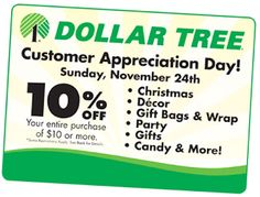 10% Off Dollar Tree Printable Coupon (Valid Today Only! 11/24) | SassyDealz.com