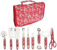 Temp-tations Floral Lace 10pc Gadget Essentials Roll-Up Kit in Cranberry color