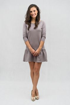 Woman Fashion - Mum fashion - Beige Dress with frill by The Same http://www.thesame.eu