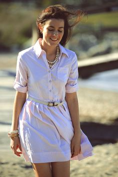 Love this striped dress. Oxford Shirt Dress: Brooks Brothers.  Sailor Bracelet:  Kiel James Patrick.  Leather Tote:  Frank Clegg.  Sandals:  Jack Rogers.  Braided Belt:  J. Crew.