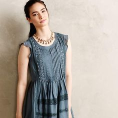 4xHP✨ Anthropologie Marit Dress in Slate Blue Designer: Vanessa Virginia. The epitome of bohemian femininity. Gorgeous dress that can be worn for day or dresses up for a wedding. Comes with a matching slip, beautiful beading. Anthropologie Dresses