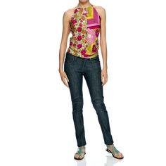 TOP 100% seta che lascia scoperte le spalle, con allacciatura dietro il collo e dietro la schiena, a fantasia floreale e pois. Made in India.