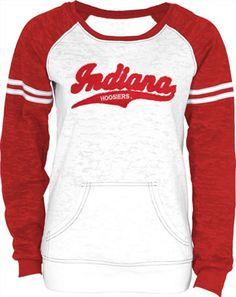 Indiana Hoosiers Women s Spanning Burnout Fleece Raglan Jersey Crewneck  Sweatshirt Sec Football 2893c2f5d