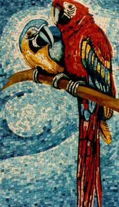 italian glass mosaic parrots