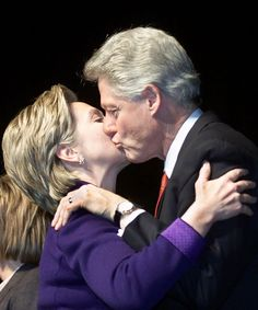 President Clinton kisses his wife, Senator Hillary Rodham Clinton after her…