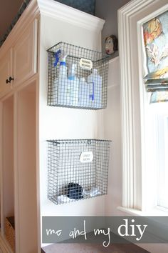 Hang wire bins in an unused corner to stash away not-so-pretty cleaning supplies and otherwise homeless items, like orphaned socks. See more at Me and My DIY »