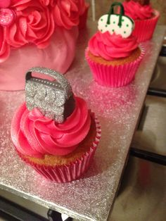 Cupcakes with handbag and matching heels toppers!