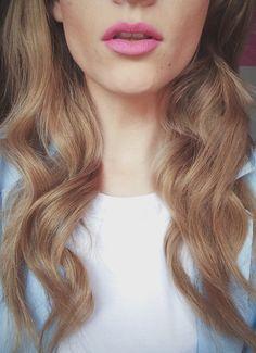 pink lips. blonde hair