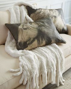 Horse Accent Pillows & Rabbit-Fur Throw at Horchow.