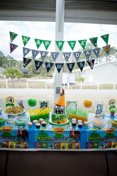 Plants vs Zombies food and candy table for birthday party! Zombie Birthday Parties, 5th Birthday Party Ideas, Zombie Party, 11th Birthday, P Vs Z, Dinosaur Party, Candy Table, Gabriel, Birthdays