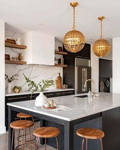 """West of Main on Instagram: """"What makes this kitchen timeless? The blend of modern lines with classic materials and accessories. And the Mill Globe Pendants of course!!…"""""""