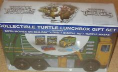 Collectible Teenage Mutant Ninja Turtles Lunchbox Gift Set Blu-Ray & DVD , New