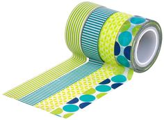 AmazonSmile: HIART Repositionable Washi Tape, Dots and Stripe Mother Nature, Green Blue, Set of 4