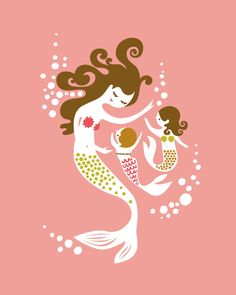 """mermaid mother & two daughters. coral/fuchsia/olive. 8X10"""" giclee print. mothers day gift.. $20.00, via Etsy."""
