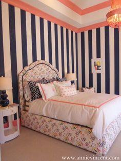 pink navy coral little girls room striped walls caitlin wilson design