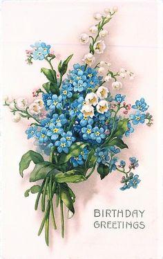 Vintage Cards, Vintage Paper, Vintage Postcards, Victorian Flowers, Vintage Flowers, Forget Me Nots Flowers, Pomegranate Art, Quilling Work, Decoupage
