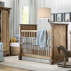 Baby Nursery Room Design Ideas – Blue and white wood boys nursery room
