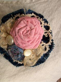 Fabric Flower Brooch - DENIM DREAMS in Pink Blue and Ecru