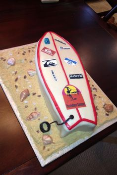 Surfboard cake for Caleb! Surfboard Cake, Surf Cake, Groomsman Cake, Cool Birthday Cakes, 9th Birthday, 40th Cake, Beach Cakes, Cakes For Men, Cute Cakes