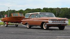 1959 Chevrolet Brookwood Station Wagon With 1957 Milo Craft Wood Boat And Trailer