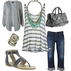 Gray cardigan, gray & white stripped top, jeans with gray sandals