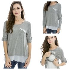 Gray nursing breastfeeding top Comfortable soft material. Easy and discreet access to breastfeeding. Cotton blends. Runs small. B00RUYHBTM Tops