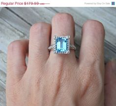 SALE Stunning Topaz Ring- Engagement Ring- Blue Topaz Ring- December Birthstone Ring- Stone Ring- Germstone Ring- Promise Ring-