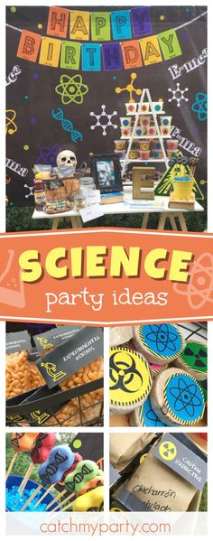 Take a look at this awesome Science birthday party! The cake pops are fun!! See more party ideas and share yours at CatchMyParty.com #catchmyparty #partyideas #science