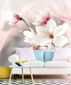Wallpaper with magnolia flowers: perfect match for romantic living room in pastel colours Pastel Colour Palette, Pastel Colours, Romantic Living Room, Magnolia Flower, Photo Wallpaper, Perfect Match, Wall Murals, Beautiful Homes, Wall Decor