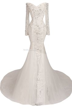 Women´s Lace with Appliques Long Sleeve Lace Up Sweep Train Wedding Dress http://www.ikmdresses.com/Womens-Lace-with-Appliques-Long-Sleeve-Lace-Up-Sweep-Train-Wedding-Dress-p90564