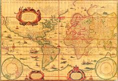 World Map published in 1606 by Dutch cartographer and atlas maker Willem Janszoon Blaeu. Old World Maps, Old Maps, Antique Maps, Vintage World Maps, Vintage Travel, World Geography Quiz, Asia Map, Map Globe, Travel Maps