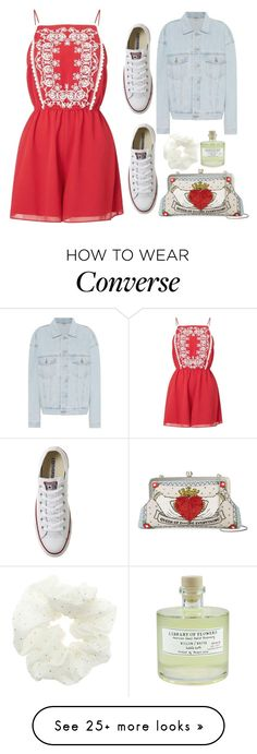 """Untitled #215"" by coffeealkhunty on Polyvore featuring Miss Selfridge, Converse, Sarah's Bag, Yeezy by Kanye West, Topshop and Library of Flowers"