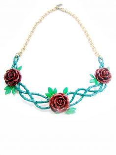 Rose Garden Colorful Necklace in Brass