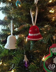 Crochet these Simple Christmas Bell Ornaments with this free pattern. Use them to decorate your tree or add to your gifts as a decoration. via @OombawkaDesign