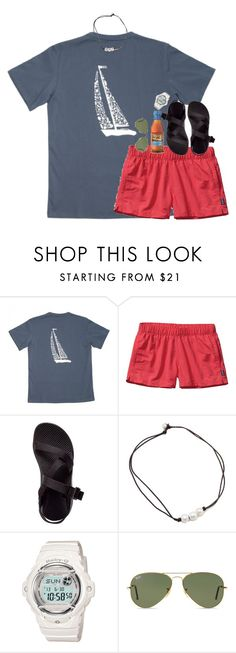 """""""simple but oh """" by hmcdaniel01 ❤ liked on Polyvore featuring Patagonia, Chaco and Ray-Ban"""